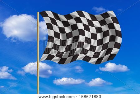 Checkered racing flag. Symbolic design of end of car race. Black and white background. Checkered flag on flagpole waving in the wind blue sky background. Fabric texture. 3D rendered illustration