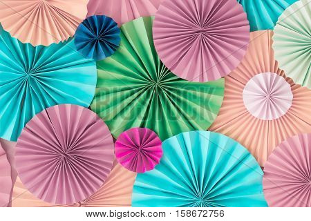 Colourful Pastel Romantic Background Wall With Multicoloured Paper Circles
