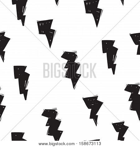 Cute lightning bolt modern seamless pattern in doodle or drawing style. Bright yellow background. Pattern can be tiled seamlessly