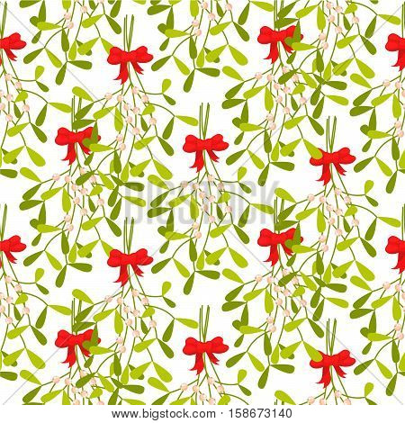Mistletoe branches seamless vector pattern. Traditional plant tied with red bow. Green dense leaves on white background.