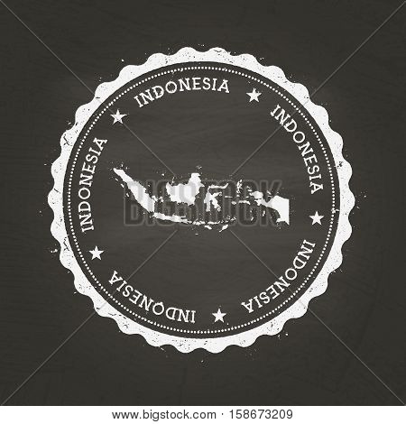 White Chalk Texture Rubber Stamp With Republic Of Indonesia Map On A School Blackboard. Grunge Rubbe