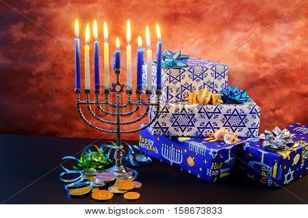 Jewish Holiday Hanukkah Star Of David  Menorah
