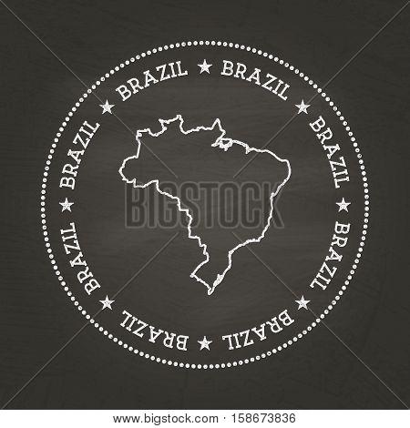 White Chalk Texture Vintage Seal With Federative Republic Of Brazil Map On A School Blackboard. Grun