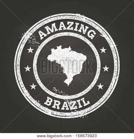 White Chalk Texture Vintage Stamp With Federative Republic Of Brazil Map On A School Blackboard. Gru