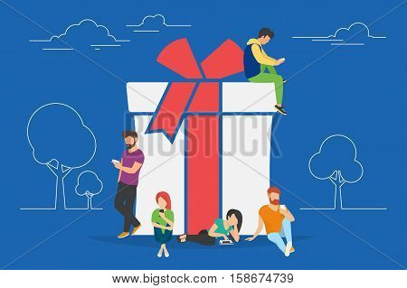 Christmas gifts and presents concept illustration of people using mobile gadgets such as tablet and smartphone for online purchasing and ordering xmas gifts. Flat guys and women sitting on the symbol