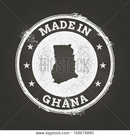 White Chalk Texture Made In Stamp With Republic Of Ghana Map On A School Blackboard. Grunge Rubber S