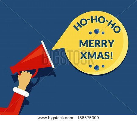Merry xmas speech bubble from megaphone banner for social networks. Flat illustration of human hand holds red megaphone with christmas stylized speech bubble. Template design
