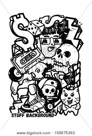 Graffiti vector stuff background sticker poster Colorful Doodle pattern in  black and white color. Used clipping mask for easy editing.