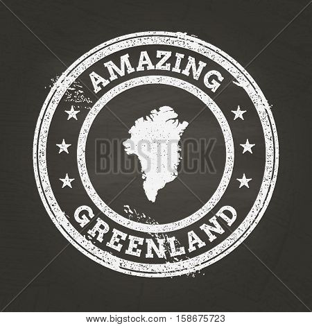 White Chalk Texture Vintage Stamp With Greenland Map On A School Blackboard. Grunge Rubber Seal With