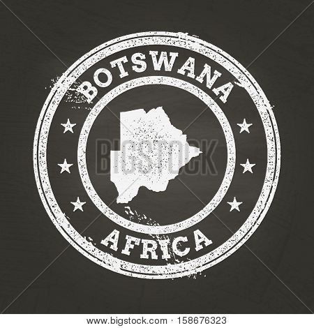 White Chalk Texture Grunge Stamp With Republic Of Botswana Map On A School Blackboard. Grunge Rubber