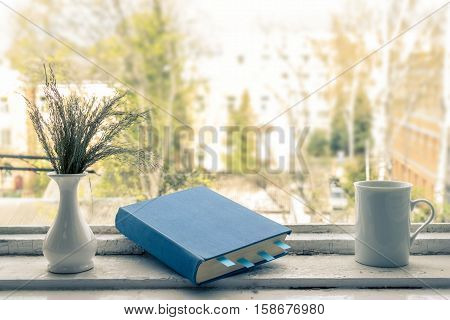 Blue book with bookmarks, a vase and a cup. View from the window.
