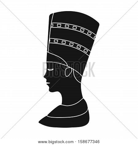 Bust of Nefertiti icon in black style isolated on white background. Ancient Egypt symbol vector illustration.