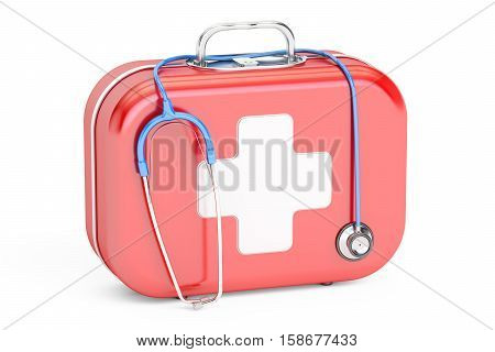 Stethoscope and First Aid Kit 3D rendering isolated on white background