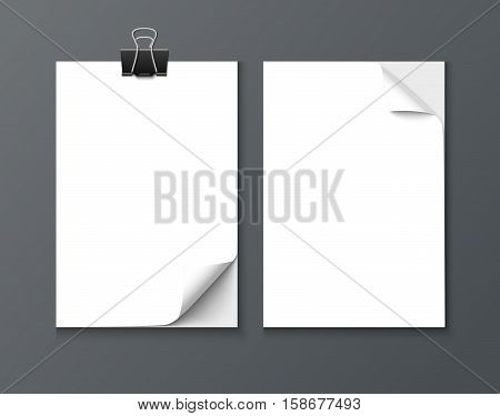 Close up paper sheets with curle corner isolated on dark background. Photo realistic vector paper with paper clip and shadow
