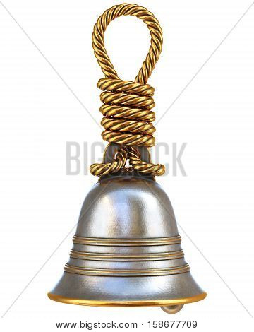 bell with a handle made from a metal rope. isolated on white. 3D illustration.