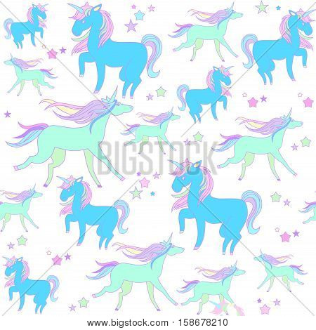 Hand-drawn seamless pattern with rainbow, unicorn, cloud, cake, sweets, flower, strawberry, ice-cream, flag for background, stickers, design cards and leaflets Cartoon elements characters