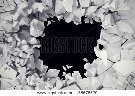 3d rendering explosion, cracked concrete wall, bullet hole, destruction abstract 3d background.