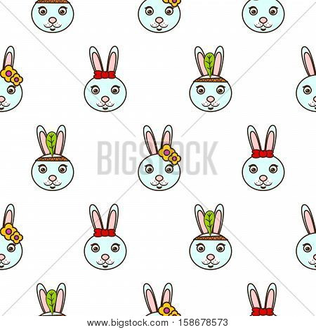 Cute blue bunny baby pattern. Blue rabbit head seamless vector background for kids.