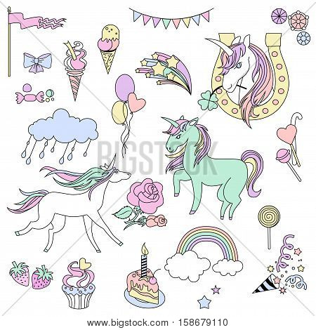 Hand-drawn elements rainbow, unicorn, cloud, cake, sweets, flower, strawberry, ice-cream, flag for patches, stickers design cards and leaflets Cartoon elements characters
