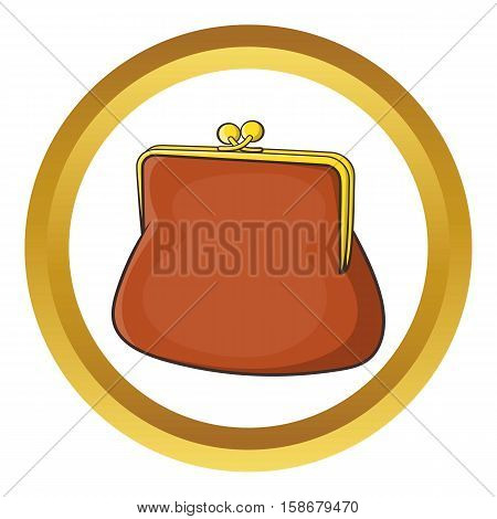 Brown retro purse vector icon in golden circle, cartoon style isolated on white background
