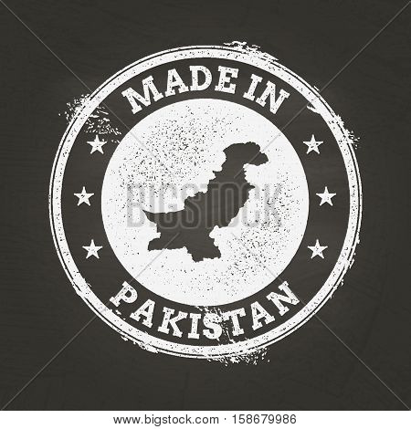 White Chalk Texture Made In Stamp With Islamic Republic Of Pakistan Map On A School Blackboard. Grun
