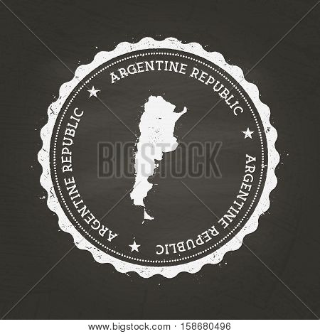 White Chalk Texture Rubber Stamp With Argentine Republic Map On A School Blackboard. Grunge Rubber S