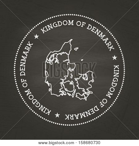 White Chalk Texture Vintage Seal With Kingdom Of Denmark Map On A School Blackboard. Grunge Rubber S