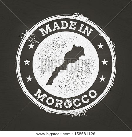White Chalk Texture Made In Stamp With Kingdom Of Morocco Map On A School Blackboard. Grunge Rubber