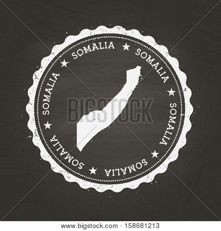 White Chalk Texture Rubber Stamp With Federal Republic Of Somalia Map On A School Blackboard. Grunge