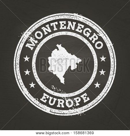 White Chalk Texture Grunge Stamp With Montenegro Map On A School Blackboard. Grunge Rubber Seal With