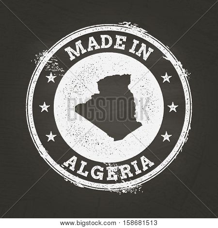 White Chalk Texture Made In Stamp With People's Democratic Republic Of Algeria Map On A School Black