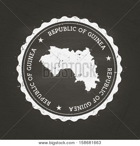 White Chalk Texture Rubber Stamp With Republic Of Guinea Map On A School Blackboard. Grunge Rubber S