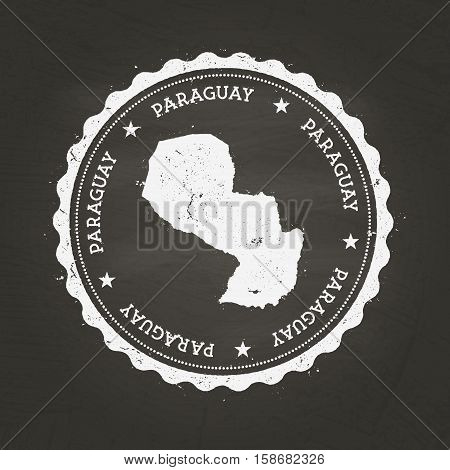 White Chalk Texture Rubber Stamp With Republic Of Paraguay Map On A School Blackboard. Grunge Rubber
