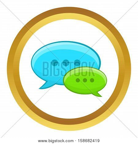 Speech bubble conversation vector icon in golden circle, cartoon style isolated on white background