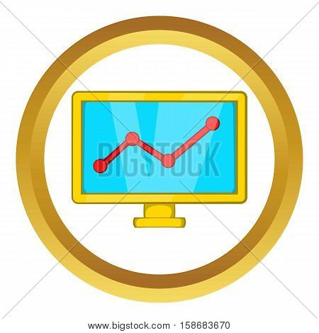 Statistics on monitor vector icon in golden circle, cartoon style isolated on white background