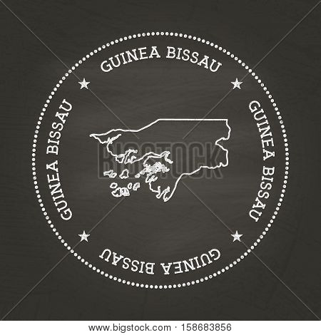 White Chalk Texture Vintage Seal With Republic Of Guinea-bissau Map On A School Blackboard. Grunge R