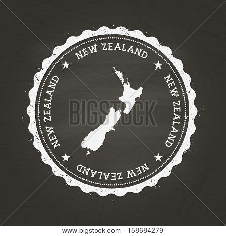 White Chalk Texture Rubber Stamp With New Zealand Map On A School Blackboard. Grunge Rubber Seal Wit