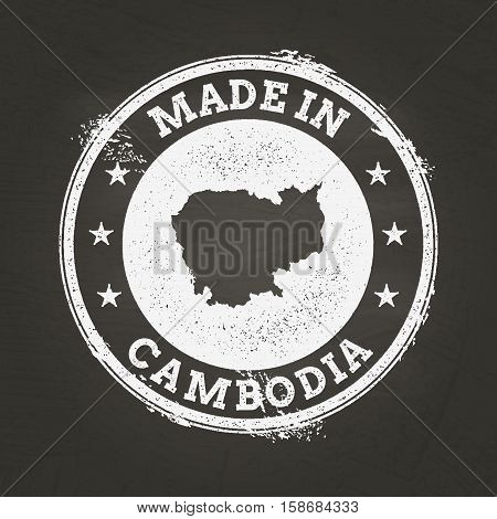 White Chalk Texture Made In Stamp With Kingdom Of Cambodia Map On A School Blackboard. Grunge Rubber