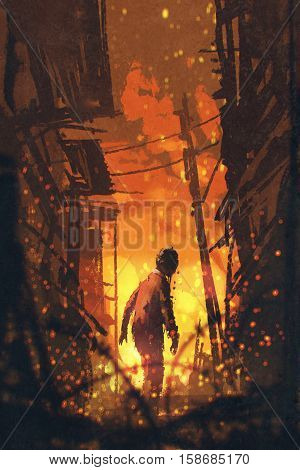 zombie looking back with burning city background, illustration painting