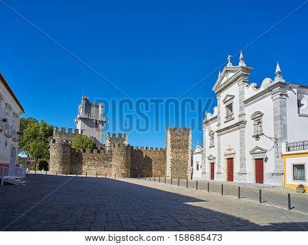 Catedral De Sao Tiago Maior And Castelo De Beja, Portugal.