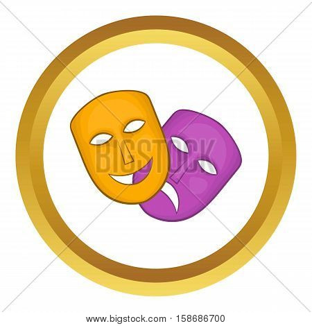Comedy and tragedy theatrical masks vector icon in golden circle, cartoon style isolated on white background