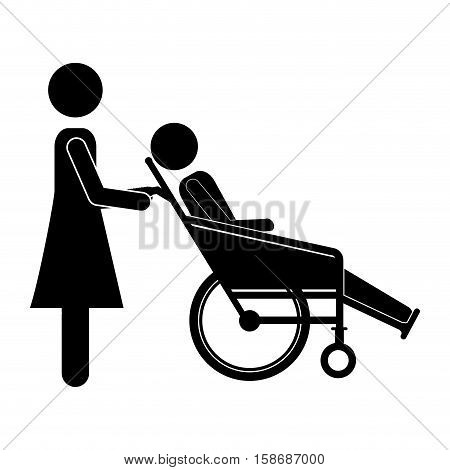 silhouette woman helping another push a reclining wheelchair vector illustration
