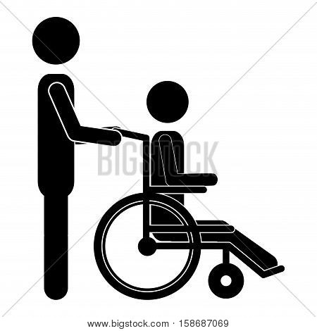 silhouette person helping another push a wheelchair