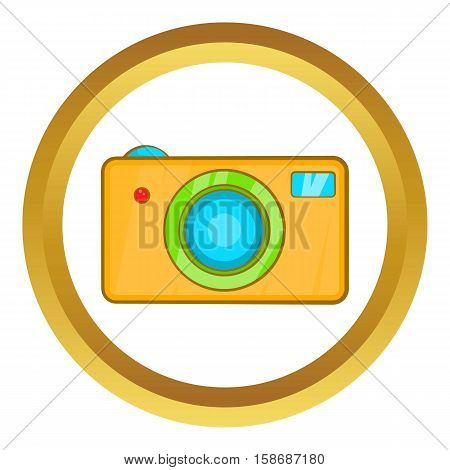 Yellow camera vector icon in golden circle, cartoon style isolated on white background