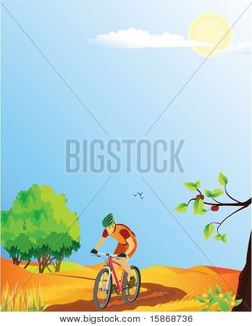 Summer landscape with a mountain biker.