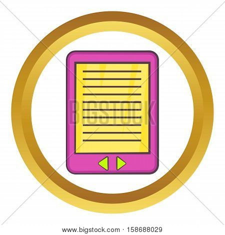 E-book vector icon in golden circle, cartoon style isolated on white background