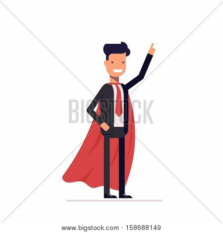Businessman or manager in the heroic mantle. Super man in a business suit with his hand raised. Vector, illustration EPS10