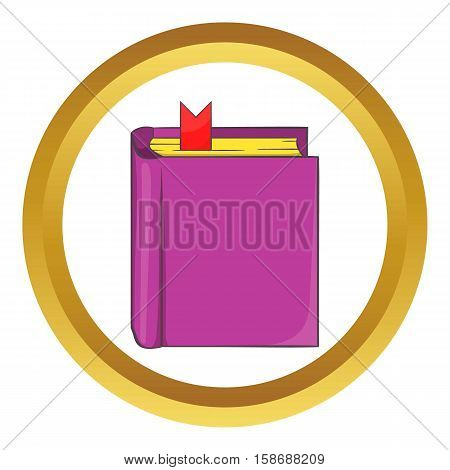 Thick book with bookmark vector icon in golden circle, cartoon style isolated on white background