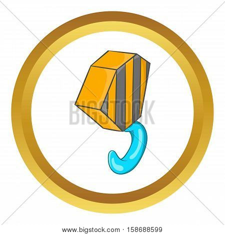Hook from crane vector icon in golden circle, cartoon style isolated on white background
