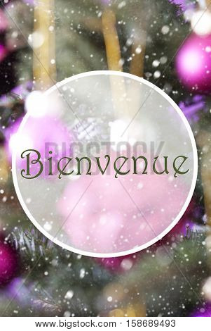 French Text Bienvenue Means Welcome. Vertical Christmas Tree With Rose Quartz Balls. Close Up Or Macro View. Christmas Card For Seasons Greetings. Snowflakes For Winter Atmosphere.
